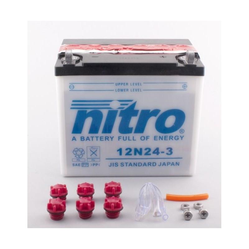 Batterie NITRO pour moto 12N24-3 WA