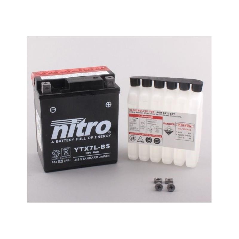 NITRO YTX7L-BS AGM ouvert avec pack acide