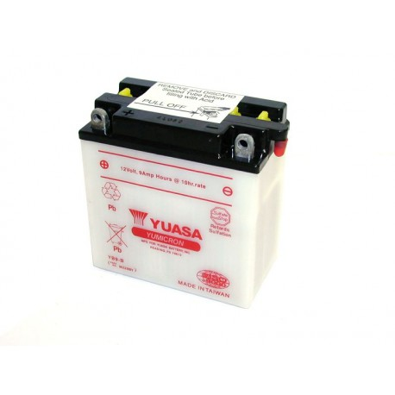 Batterie YUASA pour moto YUASA YB9-B ouvert avec pack acide
