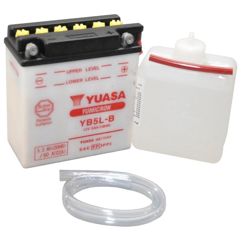 Batterie YUASA pour moto YUASA YB5L-B ouvert avec pack acide