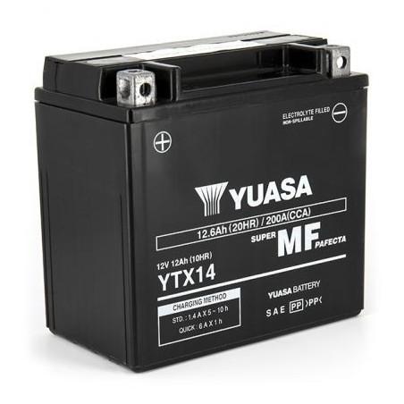 Batterie YUASA pour moto YTX14-BS AGM Prête à l'emploi