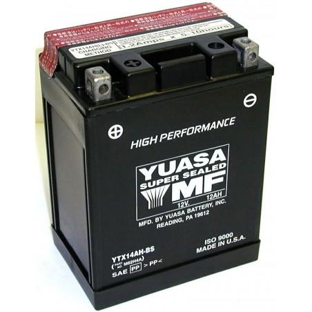 Batterie pour moto YTX14AH-BS YUASA livrée avec pack acide
